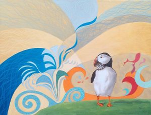 Dear Little Puffin Oil on Canvas 65x50cm
