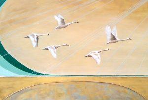 Westward Swans Oil on Canvas 92x65cm