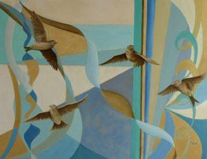 Happy Skylarks Oil on Canvas 46x61cm