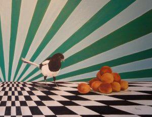 Magpie Apricots Oil on Canvas cm