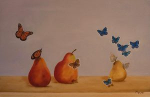 Butterfly Pears Oil on Canvas 41x27cm